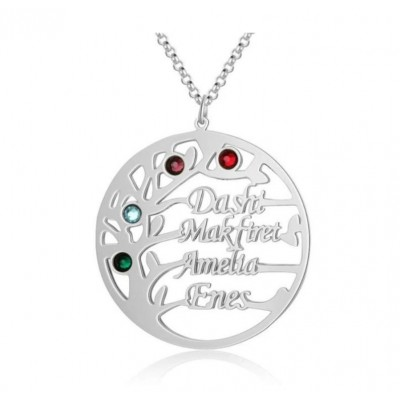 Personalized Family Tree Name Necklace with 1-8 Names Birthstones Gift for Mom and Grandma