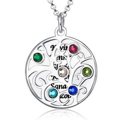 Engravable Family Tree Necklace with 1-6 Birthstones