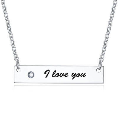 Personalized Diamond Engraved Bar Necklace