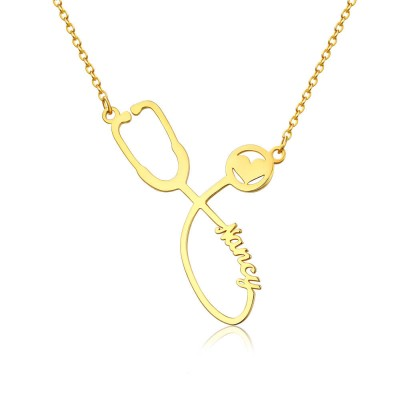Personalized Stethoscope Name Necklace For Our Heroes