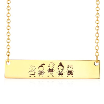 Personalize Actual Handwriting Necklace   Drawing Bar Necklace
