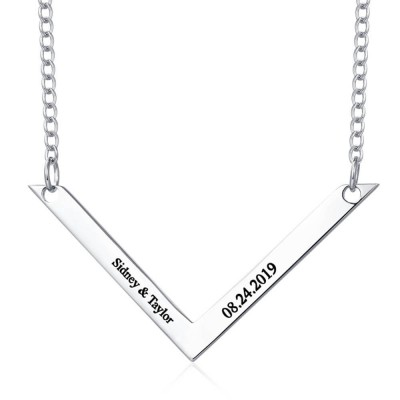Engraved Bar Necklace for Couple