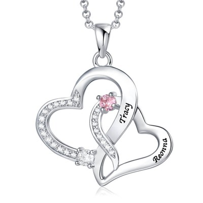Personalized Double Heart Necklace With 2 Names & Birthstones