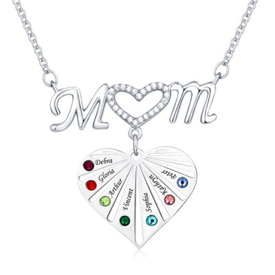 Personalized Necklace 1-8 Engravings and Birthstones Mom Pendants Designs Gift for Mom