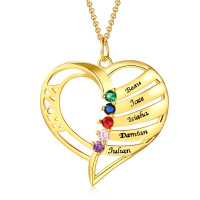 Personalized Heart Name Necklace with 1-6 Birthstones Designs
