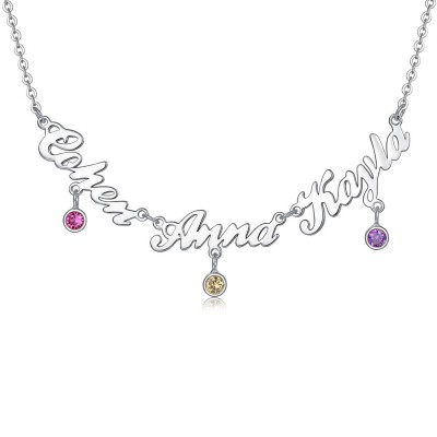 Personalized Necklace with 1-8 Names and Birthstones Design