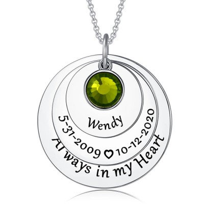 Personalized Always in my Heart Memorial Necklace
