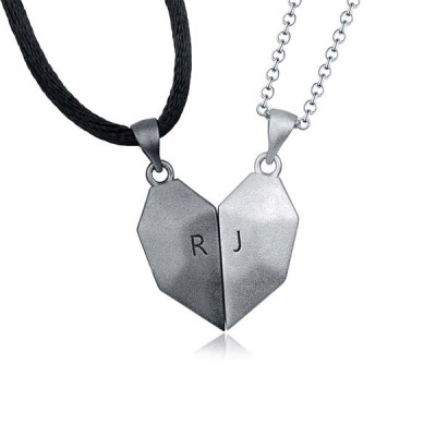 Personalized 2 Pieces Magnetic Patchwork Heart Necklace