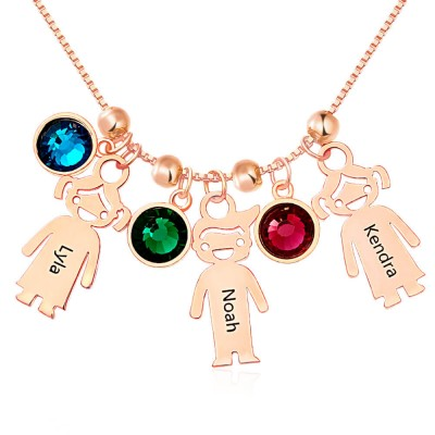 Rose Gold Plated Engraved Children Necklace 1-15 Pendants Optional With Birthstone