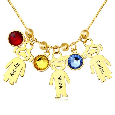 Gold Plated Engraved Children Necklace 1-15 Pendants Optional With Birthstone