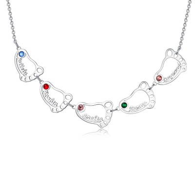 Personalized 1-10 Engravable Charms Necklace Baby Feet Shape Pendant Necklace Birthstones Necklace for Mom