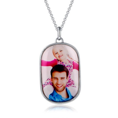 Engraved Oval Photo Necklace