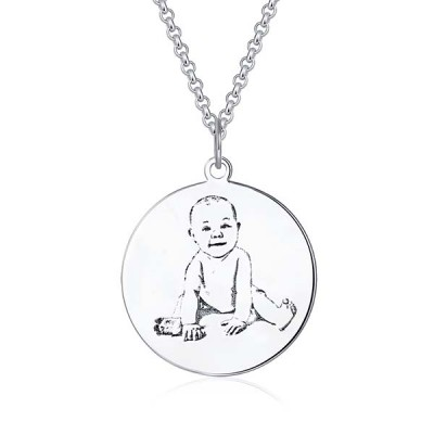 Engraved Baby Photo Necklace