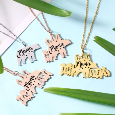 Personalized Mama Bear Necklace 1-8 Names For Mother's Day Gifts