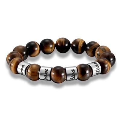 Custom Beads Bracelet With 1-10 Engravings In Silver