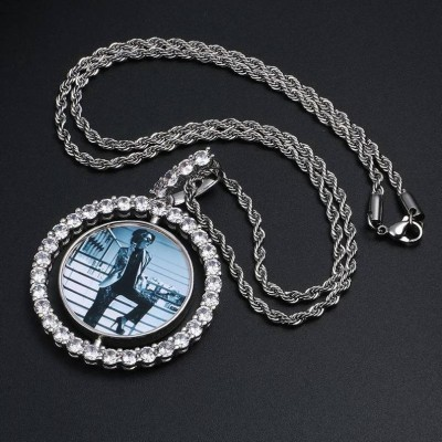 Personalized Rotating Double-Sided Medallion Photo Pendant Necklace for Your Love