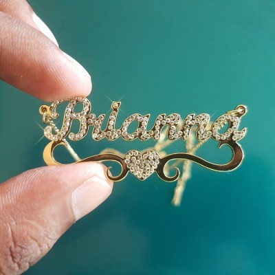 Personalized Sparkling Name Necklace with A Heart Decoration
