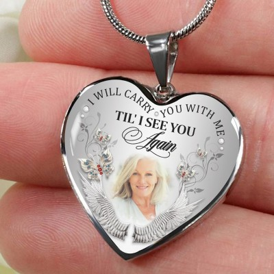 Personalized I Will Carry You with Me Memorial Necklace