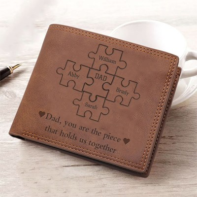 Father's Day Gift Personalized Dad You Are the Piece That Holds Us Together Leather Trifold Wallet