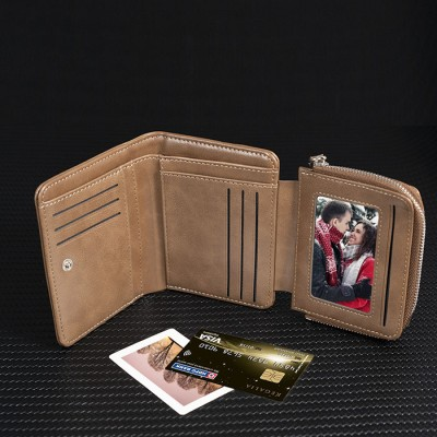 Father's Day Gift Personalized Photo Leather Short Wallet