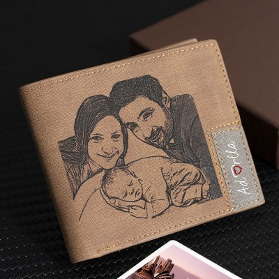 Father's Day Gift Personalized Photo Leather Wallet