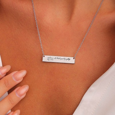 Personalized Handwriting Necklace   Vertical Bar Signature Necklace