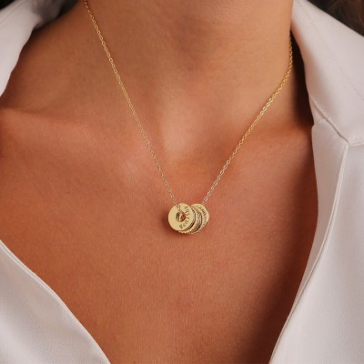 Personalized Ring Name Necklace with 1-10 Names