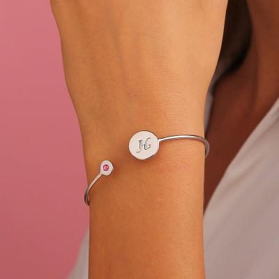 Engravable Birthstone Signet Sterling Silver Cuff Bracelet