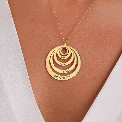 Personalized 18K Gold Engraved Disc Necklace With 1-5 Circles Customized Name Engraving Necklace