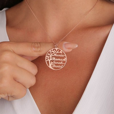 Personalized Family Tree Name Necklace with 1-8 Names Gift for Mom and Grandma
