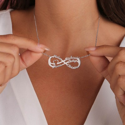Personalized Infinity Name Necklace with 5 Names