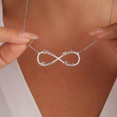 Personalized Infinity Name Necklace with 4 Names