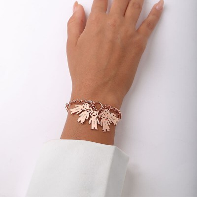 18K Rose Gold Plating Personalized Engravable Bracelet with 1-6 Children Pendants