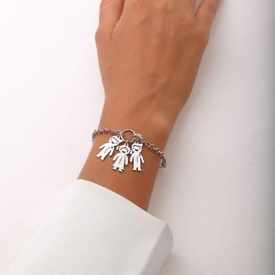 Personalized Engravable Bracelet with 1-6 Children Pendants