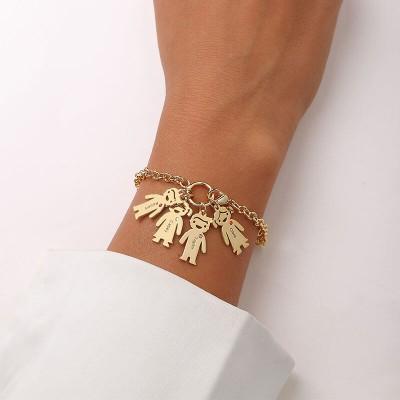 18K Gold Plating Personalized Engravable Bracelet with 1-6 Children Pendants