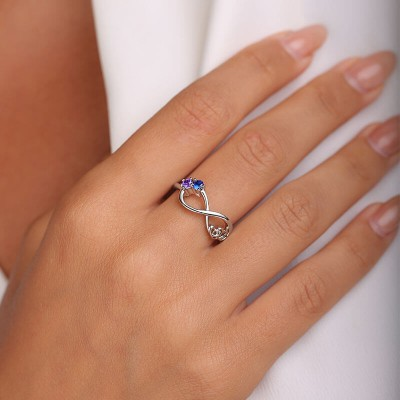 S925 Sterling Silver Personalized Birthstone Promise Ring For Couples