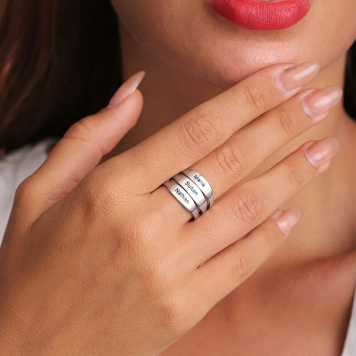 S925 Sterling Silver Personalized Stackable Engraved Ring