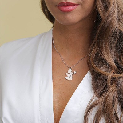 Personalized Angle Necklace with Engraving