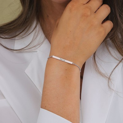 Custom Birthstone Silver Name Bar Bracelet