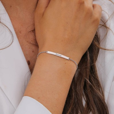 Personalized Women's ID Name Bar Bracelet