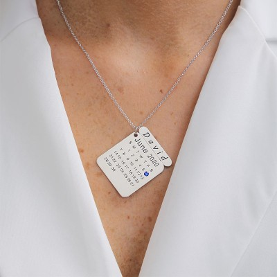 Personalized Calendar Necklace with Engraving
