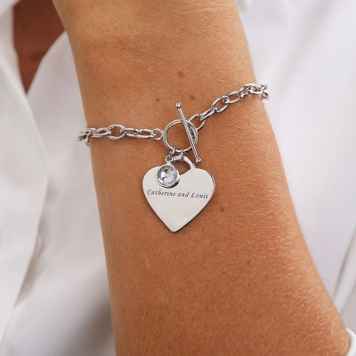 Personalized Charm Bracelet with a Birthstone Pendant