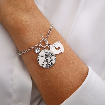 Personalized Photo Engraved Tag Bracelet with Engraving for Your Love