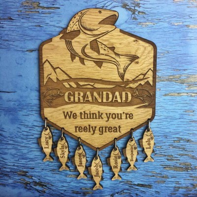 Personalized We Think You Are Reely Great Family Wall Plaque with 1-20 Fish Charms Fishing Gift For Dad, Grandad