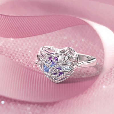 S925 Sterling Silver Personalized Encased in Love Caged Infinity Band Hearts Ring with 1-6 Birthstones