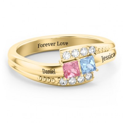 S925 Sterling Silver Princess Cut Double Bypass Birthstone Promise Ring With Engraving