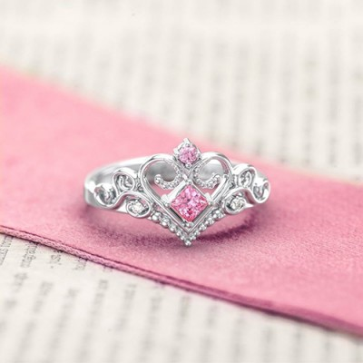 S925 Sterling Silver Personalized Fairytale Princess Tiara Ring With Engraving