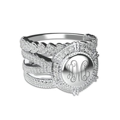 S925 Sterling Silver Custom Engraved Stackable Monogram Ring