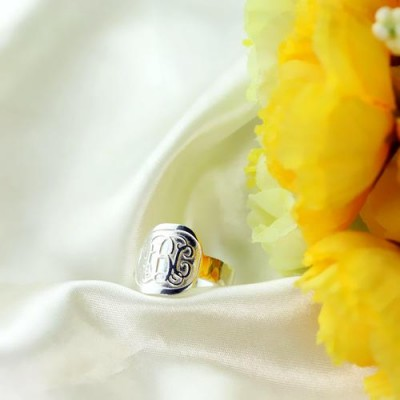 S925 Sterling Silver Personalized Engraved Monogram Ring