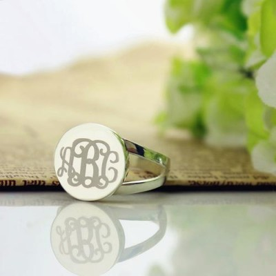 S925 Sterling Silver Personalized Monogram Ring